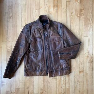 Gap Men's Brown Distressed Leather Jacket Large